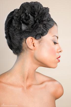 Profile head shot of model
