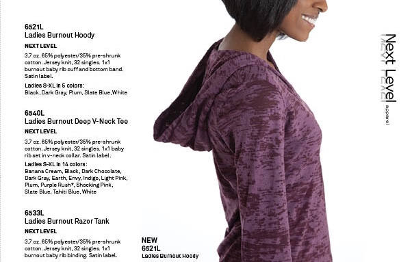 Angelica Guillen modeling purple hoodie for Next Level Apparel